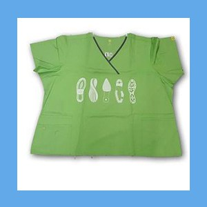 Wonder Wink Scrub Top Shoe Prints II Green Apple/Pewter Trim OVERSTOCK Scrubs Top Shoe Prints Green Apple/Pewter Trim