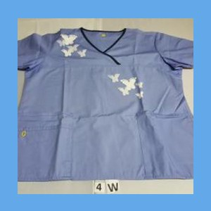 Wonder Wink Scrub Top Artsy Arch Butterfly Ceil Blue/Navy Trim OVERSTOCK Scrubs Top Artsy Arch Butterfly Ceil Blue/Navy Trim