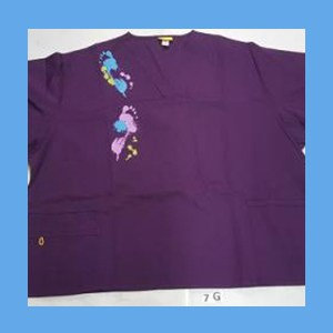Wonder Wink Scrub Top Artsy Arch Paint Splash Eggplant OVERSTOCK Scrubs Top Artsy Arch Paint Splash Eggplant