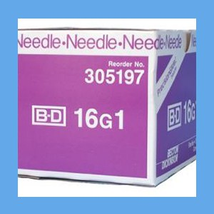 "BD PrecisionGlide Needle, Regular Bevel, Sterile 16G x 1""  BD PrecisionGlide Needle, 16G x 1"" Regular Bevel, Sterile"