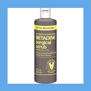 Betadine Scrub Quart 32oz/Bt  solution, Betadine, antiseptic, iodine