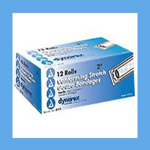 "Dynarex Conforming Sterile Stretch Gauze Bandage 2"" 12 rolls/ box knitted, light compression, stretch, gauze, bandage, protects wound"
