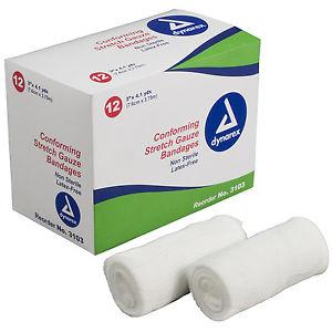 "Dynarex Conforming N/S Stretch Gauze Bandage 3"" 12 rolls/ box knitted, light compression, stretch, gauze, bandage, protects wound"