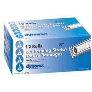 "Dynarex Conforming Sterile Stretch Gauze Bandage 3"" 12 rolls/ box knitted, light compression, stretch, gauze, bandage, protects wound"