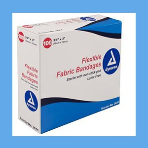 "Dynarex Adhesive Fabric Bandages 3/4"" x 3"" bandage strips, flexible, fabric, breathable, sterile, latex-free, Dynarex"