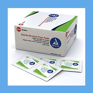 Dynarex Sterile alcohol prep pads saturated with 70% isopropyl alcohol medium 200/box Sterile alcohol prep pads saturated with 70% isopropyl alcohol medium 200/box