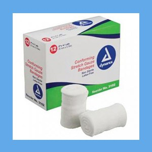 "Dynarex Conforming N/S Stretch Gauze Bandage 2"" 12 rolls/ box knitted, light compression, stretch, gauze, bandage, protects wound"