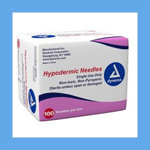 "DYNAREX Hypodermic Needles 20G x 1"" needles, disposable, stainless steel, Dynarex"