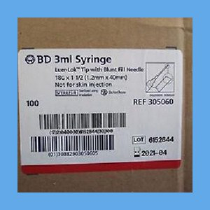 "BD Syringe with Needle Combo Luer-Lok Blunt , 3 ml 18g x 1 1/2"" syringes, needles, BD, disposable, polycarbonate"