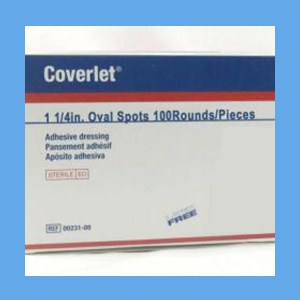"Coverlet Adhesive Bandages, Spots 1 1/4"" Oval bandages, adhesive, pad, conducive to healing"