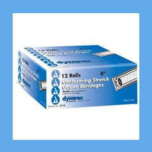 "Dynarex Conforming Sterile Stretch Gauze Bandage 4"" 12 rolls/ box knitted, light compression, stretch, gauze, bandage, protects wound"