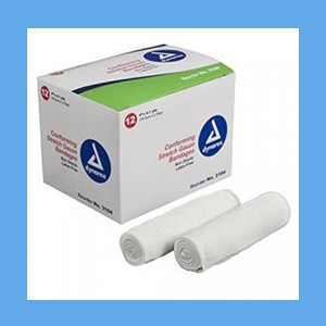 "Dynarex Conforming N/S Stretch Gauze Bandage 4"" 12 rolls/ box knitted, light compression, stretch, gauze, bandage, protects wound"